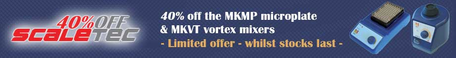 Scaletec Sale - 40% off the MKMP microplate and MKVT vortext mixers - whilst stocks last
