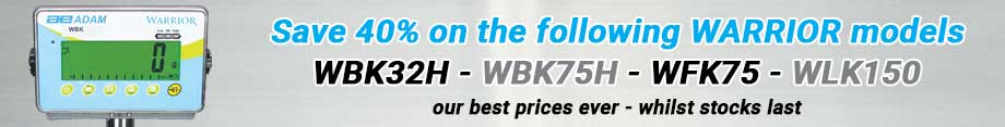 40% off the following AEADAM Warrior models: WBK32H, WBK75H, WFK75 and WLK150